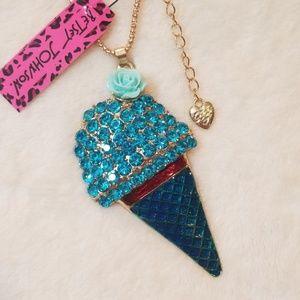 Betsey Johnson Blue Ice Cream Cone Necklace